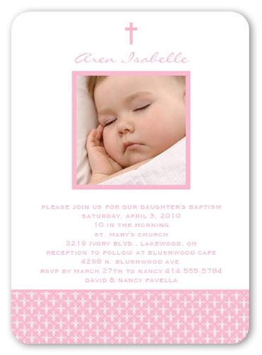 Angelic Cross Pink Baptism Invitation by Petite Lemon