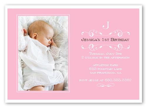 Elegant Pink Baptism Invitation by Petite Lemon