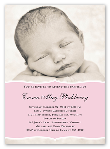 Pretty Precious Pink Baptism Invitation by Petite Lemon