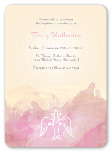 Watercolor Dove Girl Baptism Invitation by Paper Plains