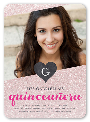 Glitter And Glamour 5x7 Invitation Card Quinceanera