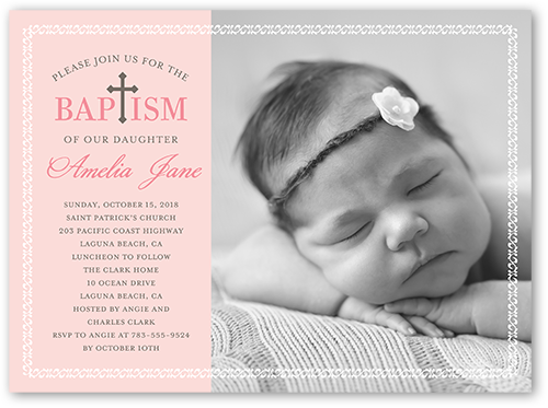 Perfect Angel Girl Baptism Invitation by Blonde Designs