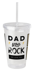dad you rock acrylic tumbler with straw