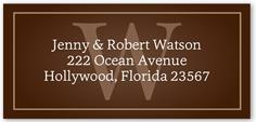 monogram and name address label