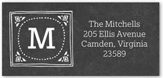 framed family monogram address label