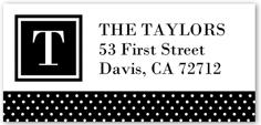 patterned dot monogram address label