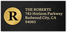 golden monogram address label