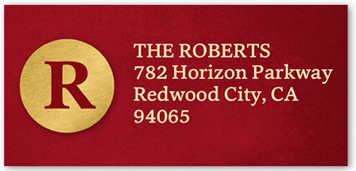 Golden Monogram Address Label