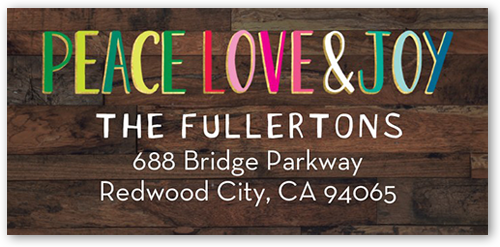 Colorful Peace And Love Address Label