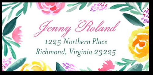 Brushed Flowers Address Label
