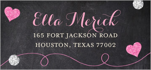 Chalkboard Hearts Address Label