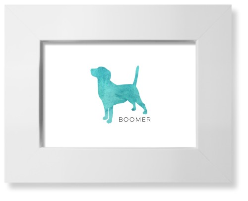 Playful Patterns Watercolor Beagle Art Print, White, Pearl Shimmer Card Stock, 5x7, Blue