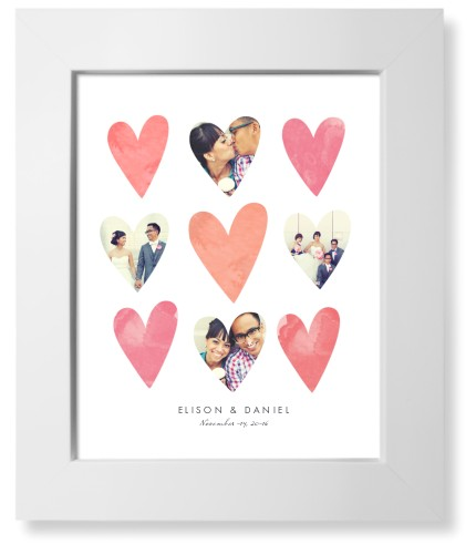 Heart Collage Art Print, White, Pearl Shimmer Card Stock, 8x10, Pink