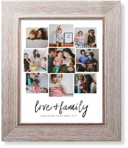 Love and Family Collage Art Print, Rustic, Pearl Shimmer Card Stock, 8x10, White