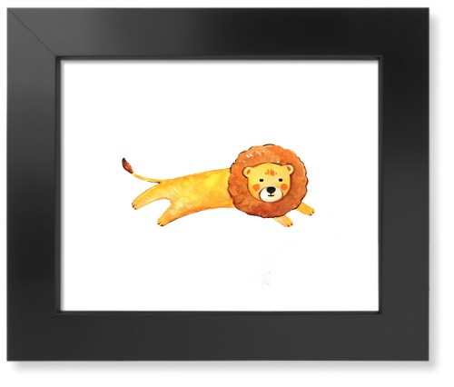 Lion Watercolor Art Print, Black, Pearl Shimmer Card Stock, 8x10, Multicolor