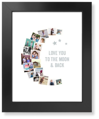 To The Moon Collage Art Print, Black, Signature Card Stock, 11x14, White