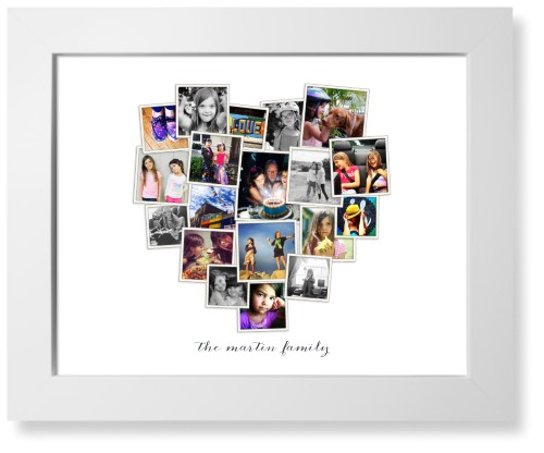 Tilted Heart Collage Art Print, White, Signature Card Stock, 11x14, White