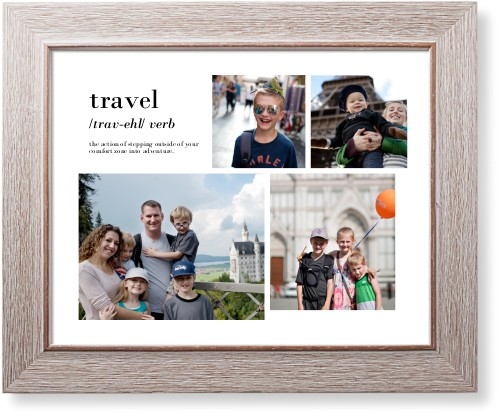 Travel Collage Art Print, Rustic, Pearl Shimmer Card Stock, 11x14, White
