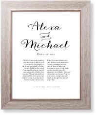 elegant wedding vow art print
