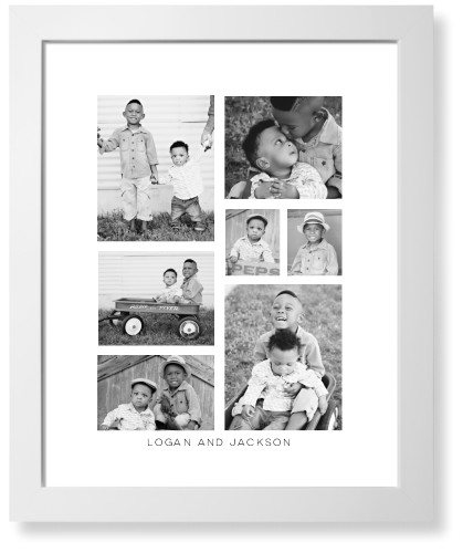 Vertical Gallery Collage of Seven Kids Art Print, White, Pearl Shimmer Card Stock, 16x20, ...