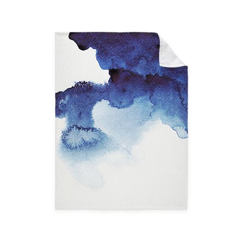 Blue Watercolor Fleece Photo Blanket, Fleece, 50 x 60, Multicolor