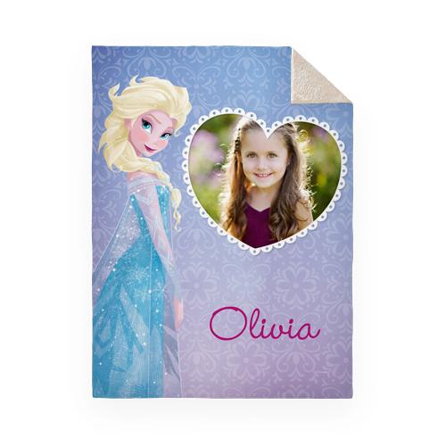 Disney Frozen Elsa Fleece Photo Blanket, Sherpa, 50 x 60, Purple