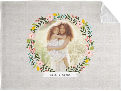Floral Frame Burlap Fleece Photo Blanket, Plush Fleece, 50 x 60, Beige