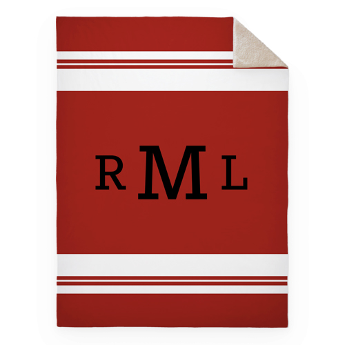 Simple Stripe Monogram Fleece Photo Blanket, Sherpa, 60 x 80, Red