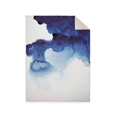 Blue Watercolor Fleece Photo Blanket, Sherpa, 60 x 80, Multicolor