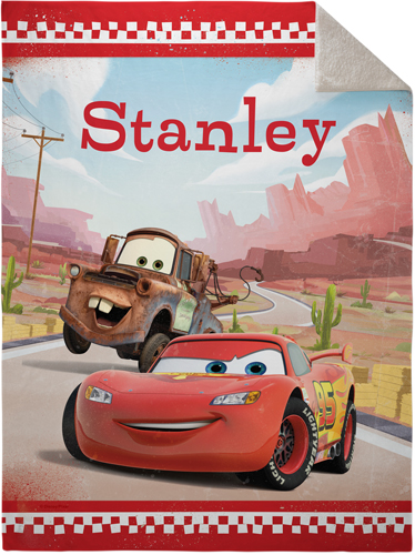 Disney Cars Mcqueen And Mater Fleece Photo Blanket, Sherpa, 60 x 80, Red