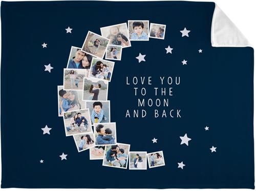 To The Moon Collage Fleece Photo Blanket, Plush Fleece, 60 x 80, DynamicColor