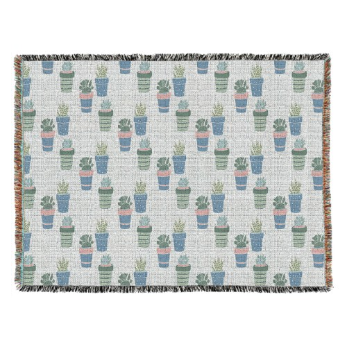 Multi Succulent Woven Photo Blanket, 54 x 70, Multicolor