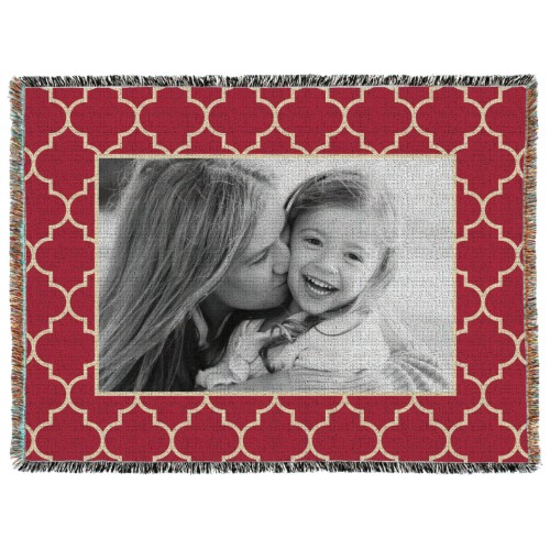 Quatrefoil Frame Woven Photo Blanket, 60 x 80, Red