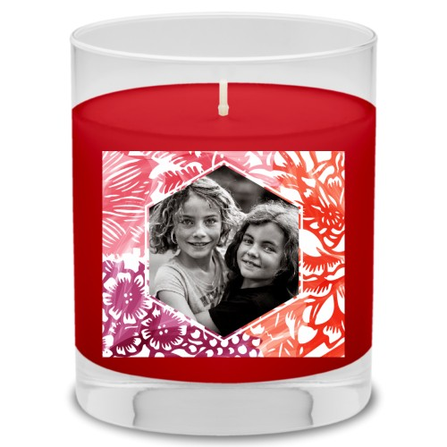 Floral Frame Candle, Fireside Spice, Multicolor