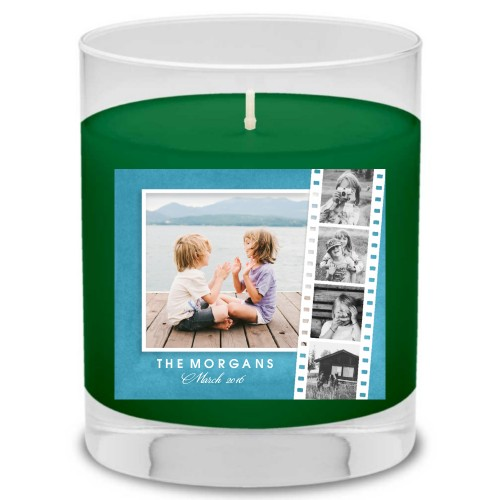 Watercolor Filmstrip Collage Candle, Evergreen Forest, DynamicColor