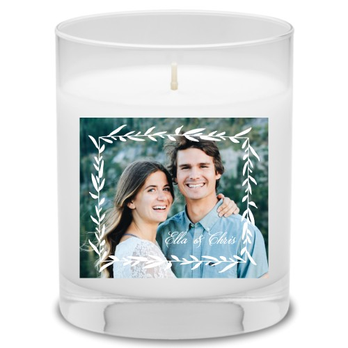 Foliage Frame Candle, Garden Bouquet, White