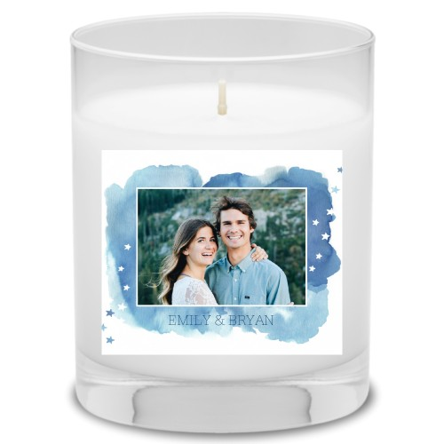 Brushed Watercolor Stars Candle, Uncscented, Blue