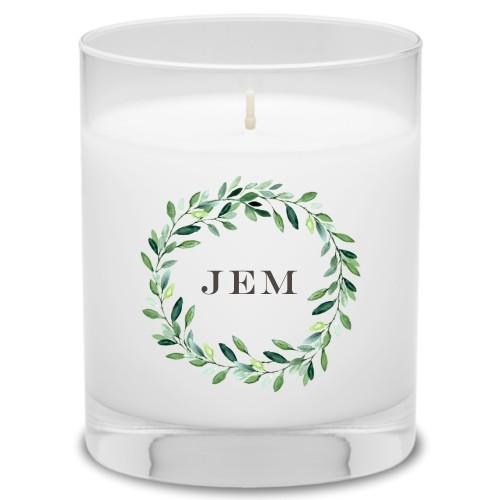 Foliage Circle Candle, Grapefruit Blossom, White