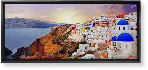 Sunset in Santorini Greece Canvas Print, Black, Single piece, 10 x 24 inches, Multicolor