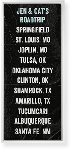 Our Travels Panoramic Canvas Print, CANVAS_FRAME_WHITE, Single piece, 10 x 24 inches, Black