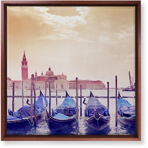 Venice Gondolas Canvas Print, Brown, Single piece, 16 x 16 inches, Multicolor