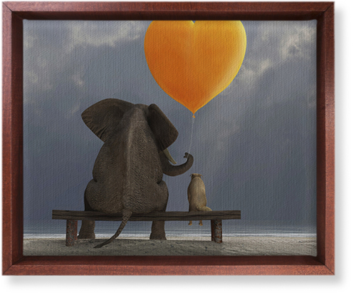 Elephant Heart Balloon Canvas Print, Brown, Single piece, 8 x 10 inches, Multicolor