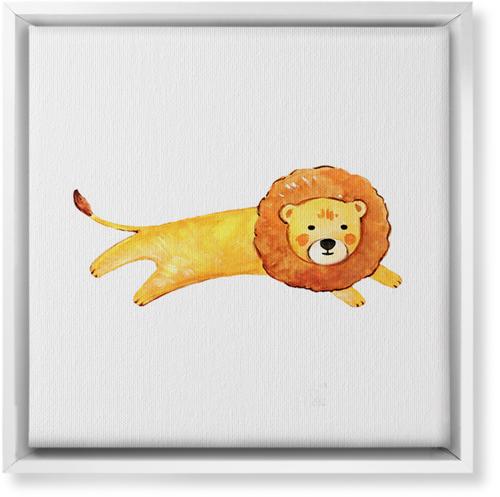 Lion Watercolor Canvas Print, CANVAS_FRAME_WHITE, Single piece, 12 x 12 inches, Multicolor