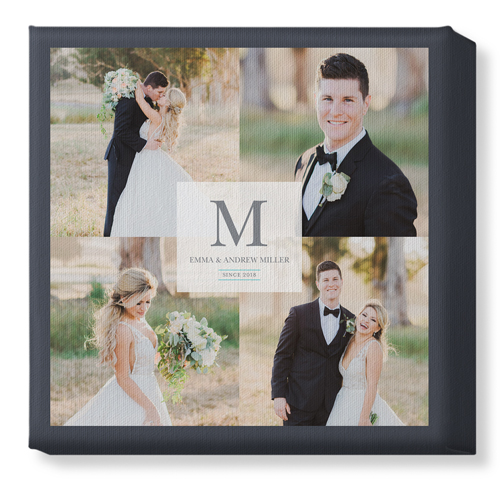 Classic Initial Wedding Canvas Print, None, Single piece, 12 x 12 inches, White