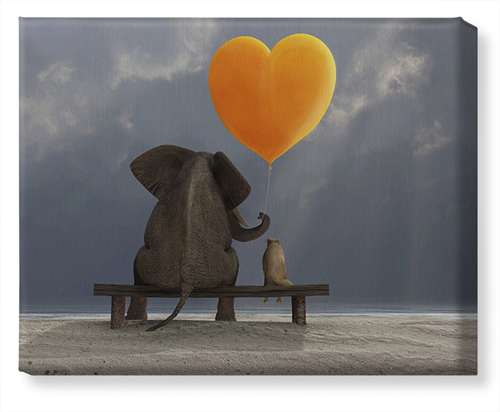 Elephant Heart Balloon Canvas Print, None, Single piece, 16 x 20 inches, Multicolor