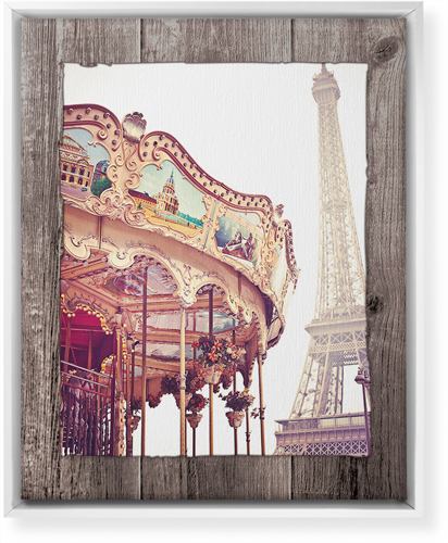 Eiffel Tower and Merry Go Round Canvas Print, White, Single piece, 16 x 20 inches, Brown