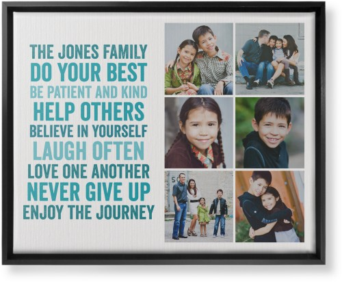 All About Family of Six Canvas Print Blue