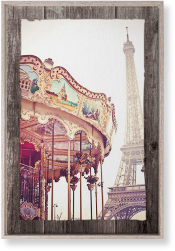 Eiffel Tower and Merry Go Round Canvas Print, CANVAS_FRAME_RUSTIC, Single piece, 20 x 30 ...