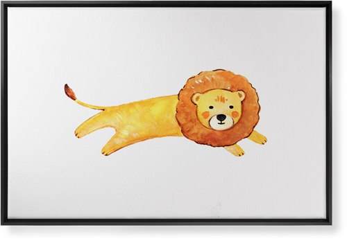 Lion Watercolor Canvas Print, Black, Single piece, 24 x 36 inches, Multicolor