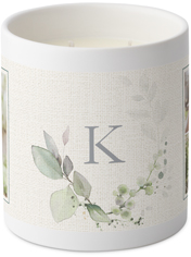 linen monogram greenery ceramic candle
